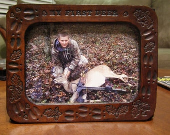 Leather First Deer Photo Frame