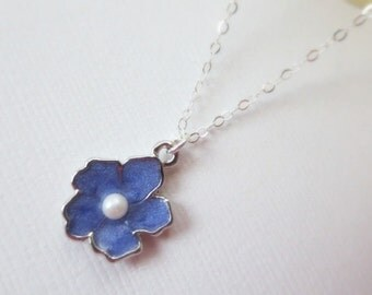 Lavender Sakura flower necklace in STERLING SILVER CHAIN--Perfect Gift, gift for mom, gift for friends,Birthday Present for her.
