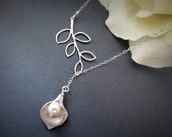 Calla Lily and Branch Lariat Necklace in STERLING SILVER CHAIN--Perfect Gift for mom Birthday Present for her and Weddings Gift.