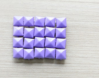 50pcs of Purple Pyramid Studs For Craft - 9 mm