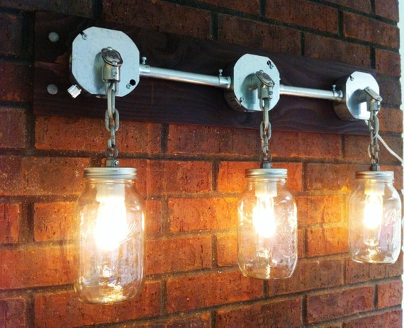 JARS OF LIGHT Industrial Mason Jar Lighting Sconce By MillerLights