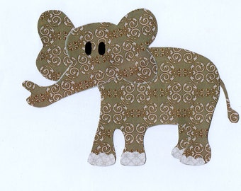 Jungle Safari, Zoo Animal, Elephant Applique Template for quilting, children, clothing