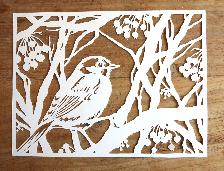 Wall Design Paper Cutting : Items similar to original handmade papercut of bird in
