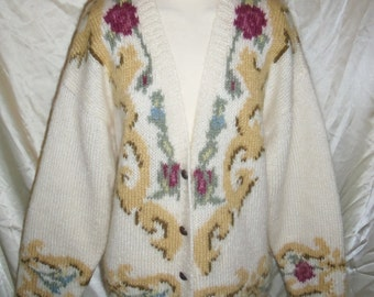 Hand Knit Internationale Express Mohair Sweater in Womens Sz Med