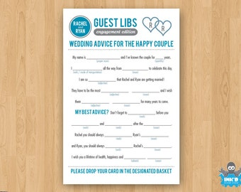 Gray & Blue DIY Printable Engagement Mad Libs Guestbook