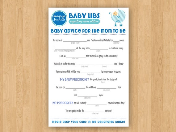 Diy Printable Baby Shower Mad Libs Guestbook