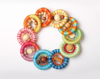 Wooden Teething Toy for Baby -Infant Baby Teething Toy - Natural Eco-friendly unfinished Wooden Teething Ring in bright colors TOP1234