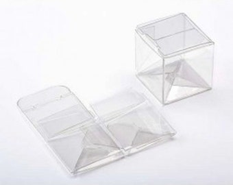 "25 Clear Small Square Boxes 2"" x 2"" x 2"""