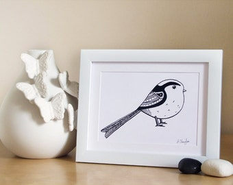 Black and white Long Tailed Tit A5 print