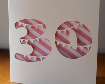 30th birthday card with cute bunting