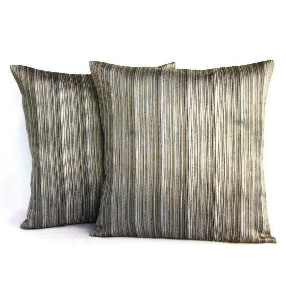 Two Throw Pillow Covers Black Gray Silver by TheDecorativePillow