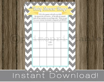 Baby Shower Bingo Game Cards gray chevron yellow and aqua blue INSTANT DOWNLOAD diy digital printable file print your own , babyshower idea