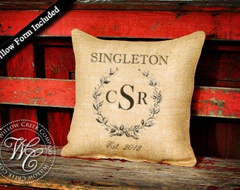 Personalized WEDDING GIFT Burlap Pillow - PILLOW with Family Name, Monogram &  Established Date