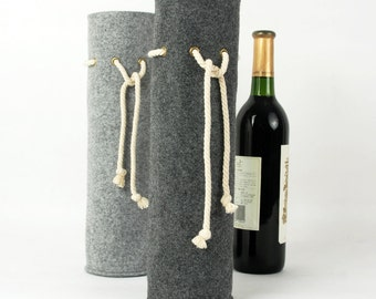 Felt Wine Tote Wine Holder Gift Wine Carrying Bag Bottle Bag Wine Holder Gift Bag with Thick Rope  E1787