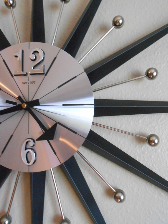 Sold To Chris Mid Century Welby Wall Clock Starburst Sunburst