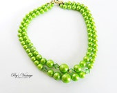 Apple Green Double Strand Lucite Beaded Necklace Swarovski Crystal Necklace Choker Vintage