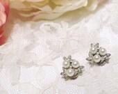 Vintage Bridal Diamanté Pearl earrings clip