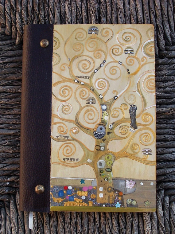 Notebook, Wooden Notebook, Custom Notebook, Journal Notebook, Writing Journal, Sketchbook, Custom Sketchbook, Art Nouveau, The tree of life