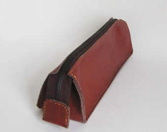 leather pencil case, cosmetic case,hand stitched ,pouch,brown leather,pencil bag