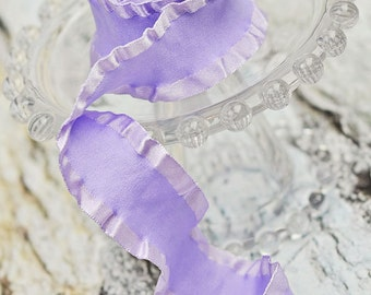 Lavender 1.5 Double Ruffle Ribbon - Light Purple Satin Ribbon