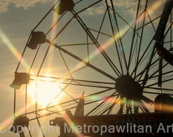 8x10 Photograph Carnival Ferris Wheel Sunset (259)