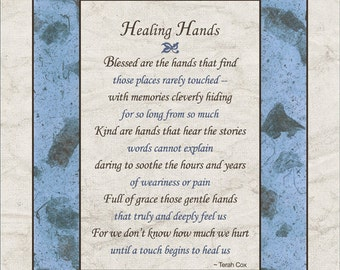 Appreciation Poem Quot Healing Hands Quot 8x10 Great For