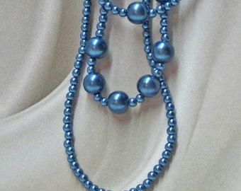 Blue Pearl 3-strand Formal Necklace