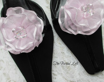 SALE Lavender Shoe Clips, Orchid Iris Shoe Clip Ons, Wedding Shoe Accessories Embellishments - Only 2 Pair Left