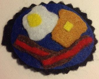 Felt bacon eggs n toast platter barrette breakfast platter