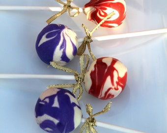Red & Blue Marbled Cake Pops