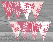 DIY wedding floral banner bunting in mauve pink, printable decoration, spring party, flower banner DIY