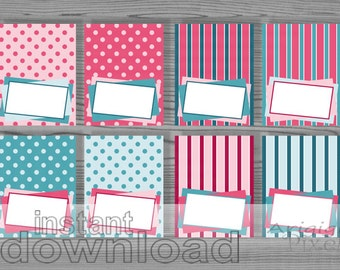 printable tent party cards in pink and teal - buffet card, place setting - polka dot - striped pattern - editable