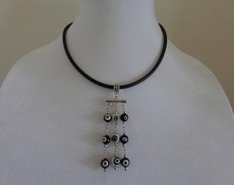 Black Choker Necklace, Evil Eye Necklace, Black Bib Necklace, Rubber Necklace, Black Minimalist Necklace, Black Art Deco Necklace