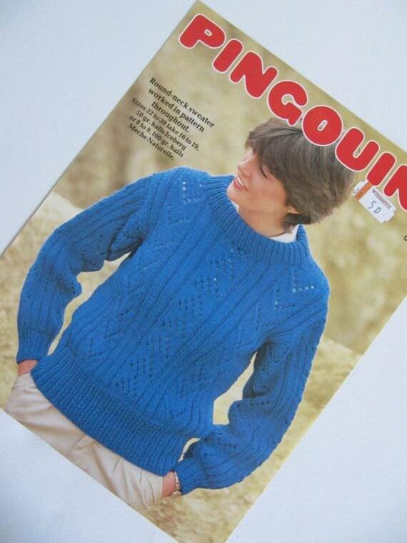 Chunky Knit Jumper Knitting Pattern : Chunky Lace Knit Knitting Pattern Ladies Pullover Jumper