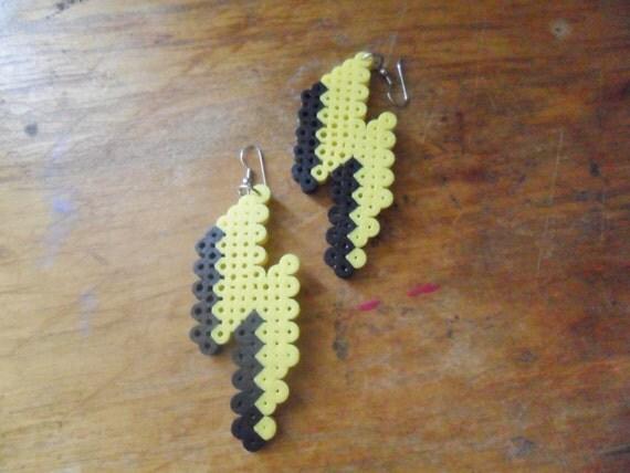 8 Bit Lightning Bolt Earrings By Perlerprojects On Etsy