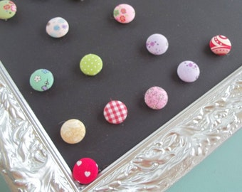 15 Fabric Covered Button Magnets or Push Pins, Bulletin Board, Magnet Board, Home Decor