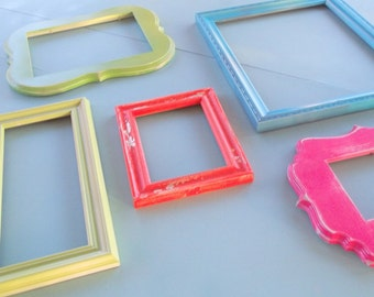 Wall Collage Frame Set Bright Colors PInk Green Blue Scalloped Frame Playroom Wall Decor POP of Color