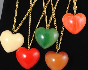 Vintage Medium Puffy Heart Pendant 1960s