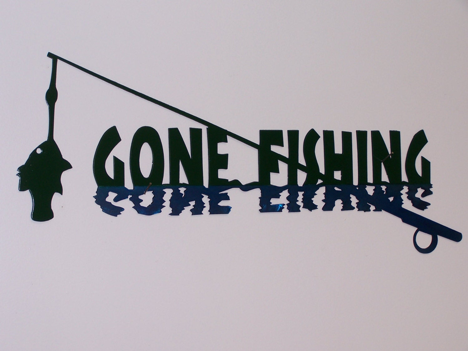 Gone fishing sign by foxhollowmetalworks on etsy for Gone fishing sign
