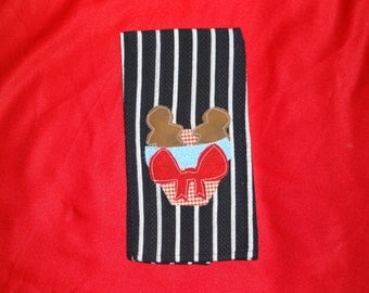 Hand Appliqued Gingerbread Dish Towel,,, Gingerbread Collector, Decor, Lover,,, Kitchen Decor, Home Decor