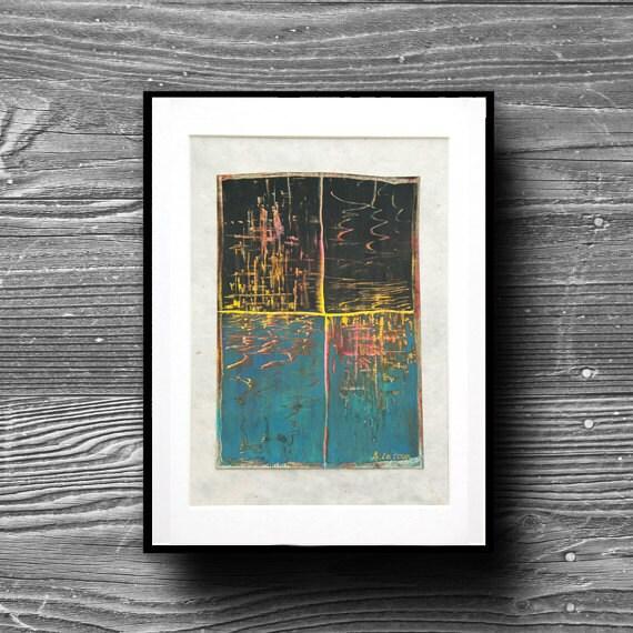 Pastel gras oeuvre d 39 art d co r flection lumi re sur for Tableau geometrique pastel