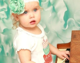 Baby Headband - Vintage Mint Green Shabby Chic Flower Headband with Pearl Center - Newborn, Infant, Toddler, Girls Headband and Photo Prop