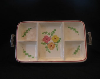 Unmarked Condiment Dish with Aluminum Tray-Blue Ridge Style Ceramic Compartment Tray