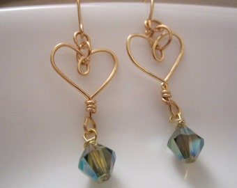 Little hearts with aurora borealis beads