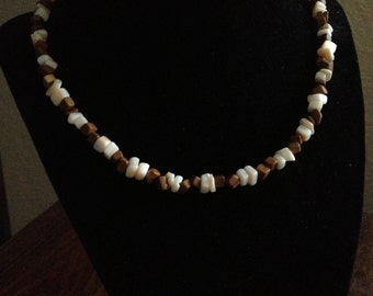 Brown and White Necklace