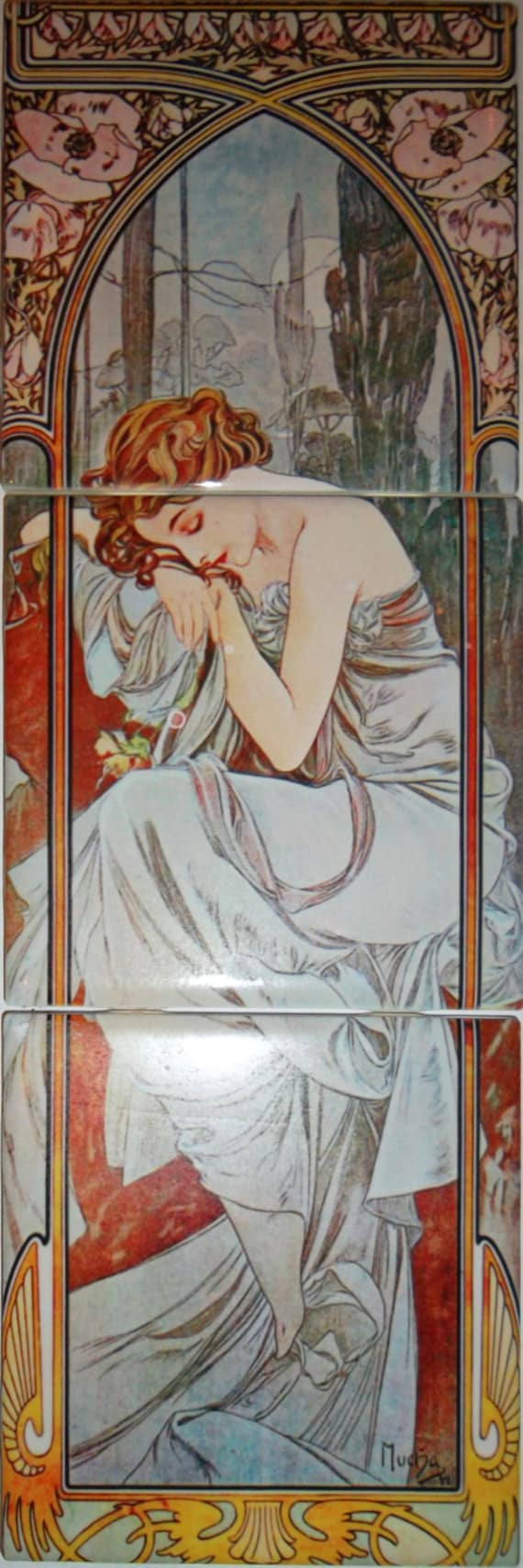 Ceramic tile mural art nouveau ceramic tile decorative mini for Art nouveau mural
