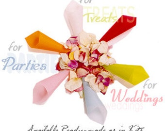 Paper Cones, KIT Of 50, DIY, Confetti Cones - includes specialty Tape, Instructions & fine Vellum papers