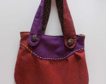 SALE!!! Purple and rust wool tote bag