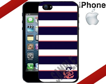 iPhone 6 6 Plus Case -  iPhone 5S Case - iPhone 4 Case - Navy Coral Anchor Stripes - iPhone 5 Case - iPhone 5C Case