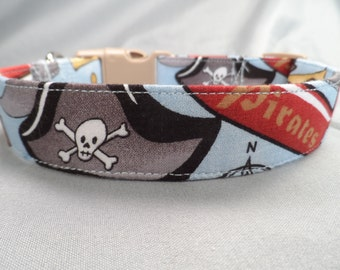 Blue Pirate Dog Collar